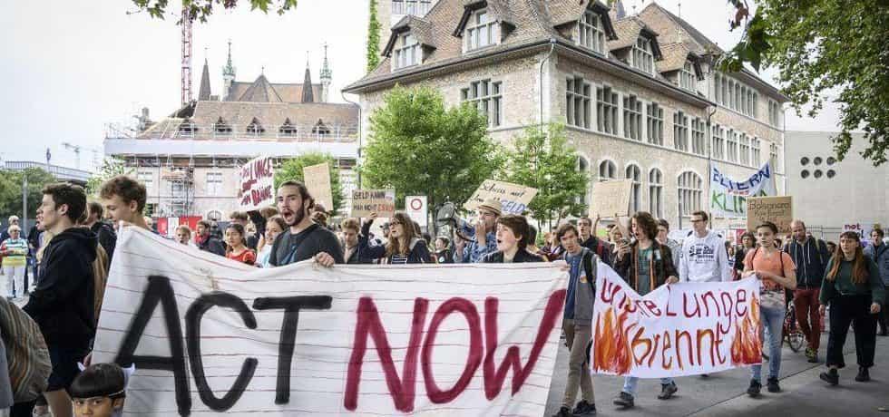 Klimatický protest ve Švýcarsku, ilustrační foto