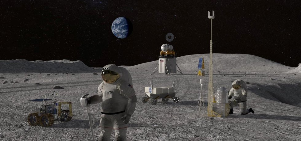 Vizualizace plánovaného přistání na Měsíci v roce 2024