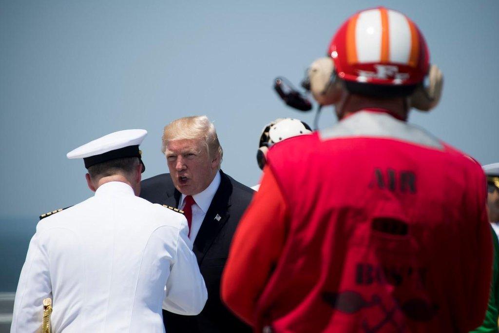 Nikdy neprohrajeme, řekl prezident Donald Trump během projevu při zařazení USS Gerald Ford do služby