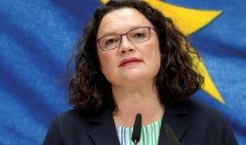 Končící šéfka německých sociálních demokratů Andrea Nahlesová