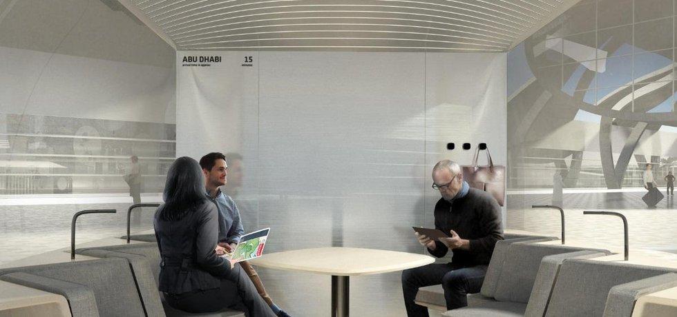 Vizualizace cestujících v kapsli Hyperloop One.