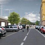 Výstaviště - Vedení trati Strojnickou ulicí - zákres do fotografie