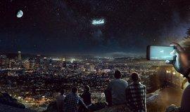 Koncept reklamy na noční obloze od ruského startupu StartRocket