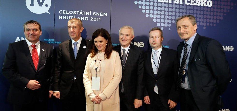 Petr Vokřál, Andrej Babiš, Jaroslava Jermanová, Jaroslav Faltýnek, Richard Brabec a Martin Stropnický.