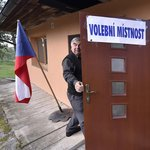 Volební místnost ve Vysoké Lhotě na Pelhřimovsku, jedné z nejmenších samostatných obcí v ČR.