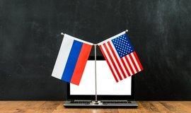 Ruská a americká vlajka, ilustrační foto