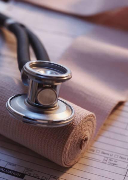 stetoskop, obvaz, úraz