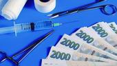 peníze, zdravotnictví, obvazy, injekce, nástroje