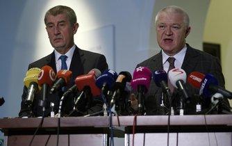 Premiér a předseda hnutí ANO Andrej Babiš a první místopředseda hnutí Jaroslav Faltýnek