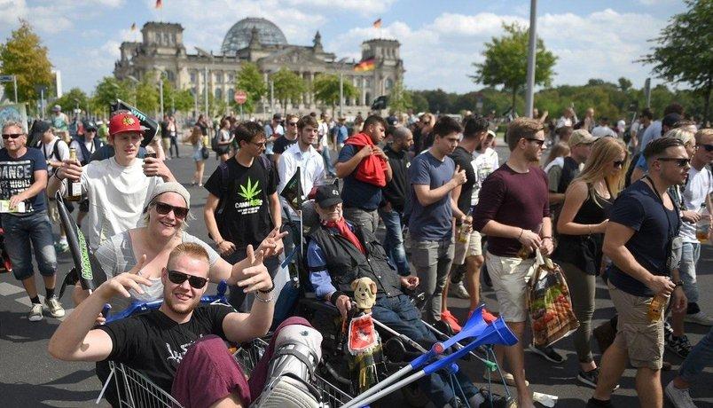 Pochod za legalizaci marihuany v Německu, ilustrační foto