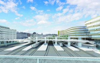 Správa železniční dopravní cesty chce vybudovat nad pražským Masarykovým nádražím zastřešení s vestibulem (na vizualizaci)