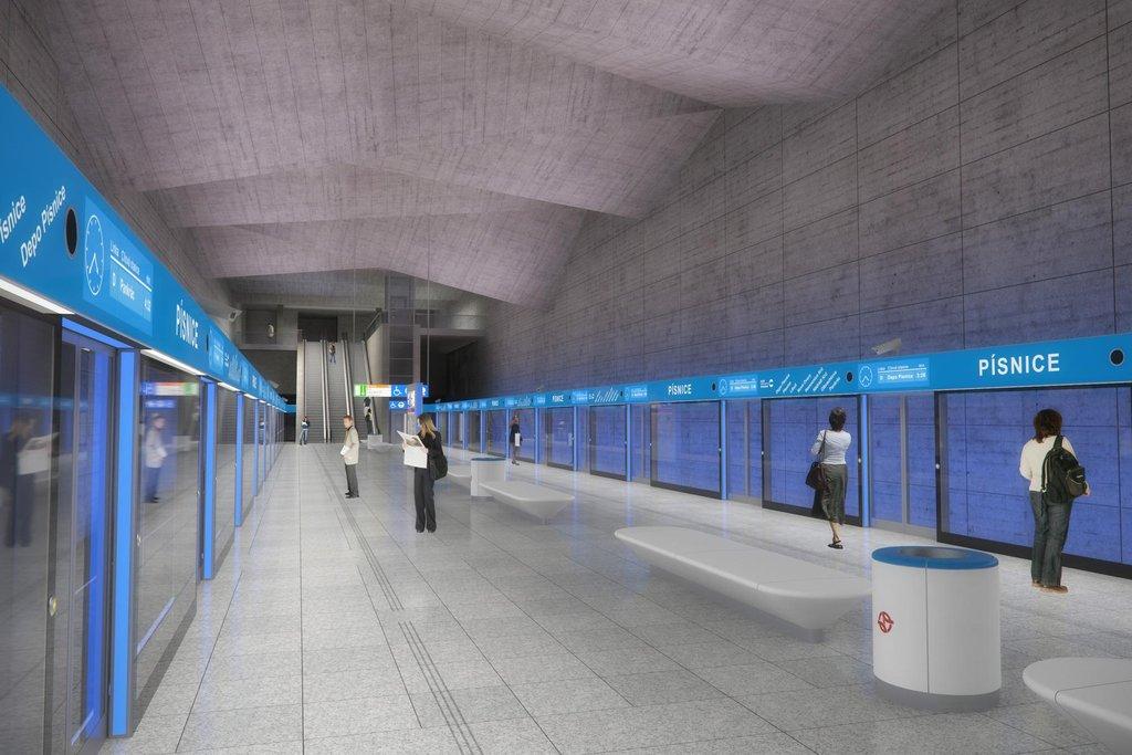 Vizulizace stanice metra D Písnice