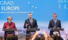 Německá kancléřka Angela Merkelová, slovenský premiér Peter Pellegrini a český premiér Andrej Babiš