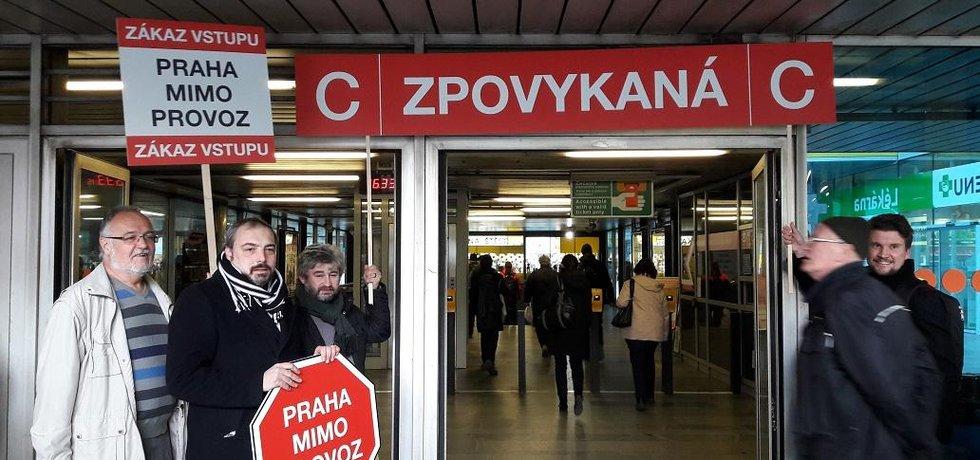 Happening za otevření jižního vstupu do stanice metra Budějovická