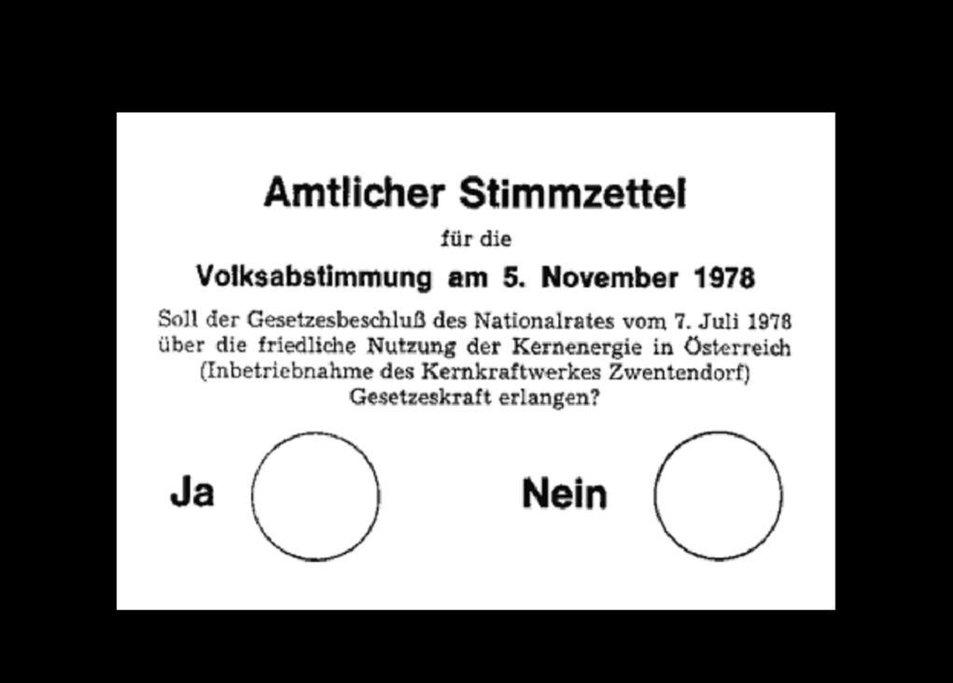 Lístek k referendu o spuštění jaderné elektrárny Zwentendorf.