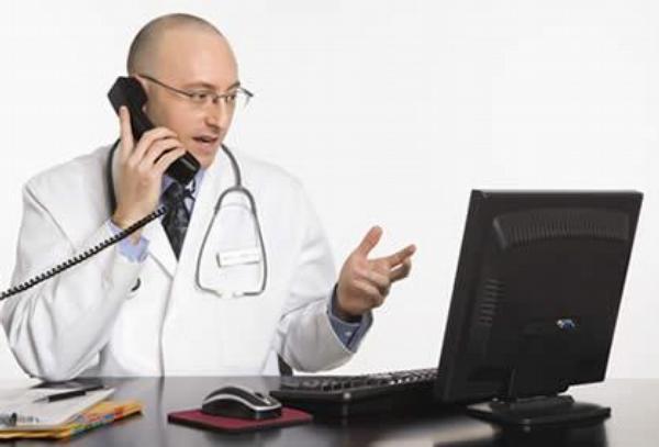 lékař, telefon, počítač, ordinace, praktik