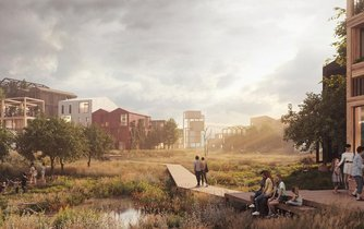 Dřevěná čtvrť v dánské Kodani Fælledby se má stát domovem pro 7 tisíc lidí