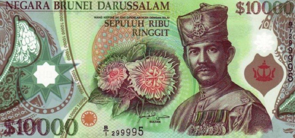 Bankovka v hodnotě 10 tisíc brunejských dolarů má v přepočtu hodnotu necelých 164 tisíc korun.