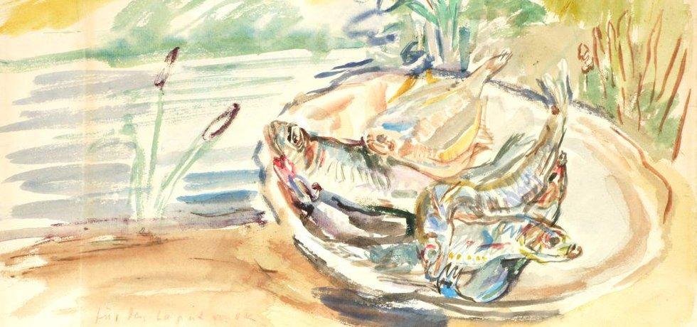 Oskar Kokoschka - Zátiší s rybami